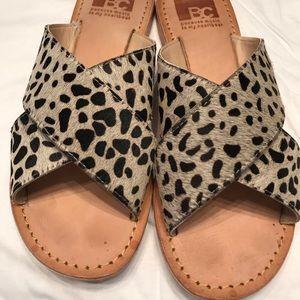 Cheetah calf hair and leather sandal size 7